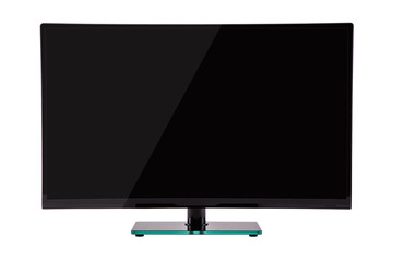 modern slim plasma TV on black glass stand isolated on a white background, is deployed to the viewer