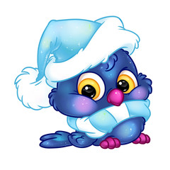 Winter owl character christmas cartoon illustration isolated image