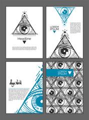 A pyramid with a eye inside. Magic symbolism. Empty templates for your information. Decor for presentations, banners, posters, covers or your design.