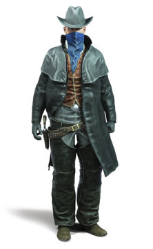 Portrait of a male outlaw cowboy in a traditional western outfit prepared to draw his weapon. 3d rendering on an isolated white background.