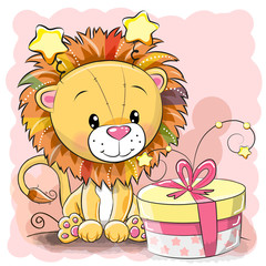 Greeting card cute Lion with gift