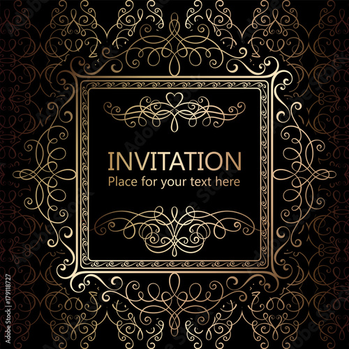 Abstract Background With Calligraphic Luxury Gold Flourishes