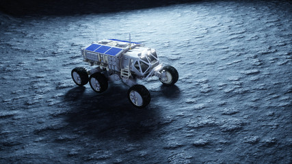 Moon rover on the moon. space expedition. Earth background. 3d rendering.