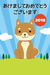 2018年賀状ー柴犬正面野原