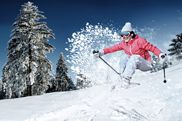 Canvas Prints Winter sports skier in action
