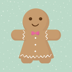 Vector illustration of classic christmas gingerbread girl cookie