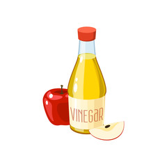 Red apple and bottle of vinegar. Vector illustration cartoon flat icon isolated on white.