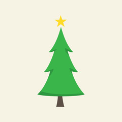 Christmas tree isolated on background. Simple green christmas tree with yellow star. Vector stock.