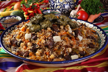 pilaf with stuffed grape leaves