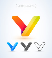 Vector letter Y logo template. Material design, flat, line-art styles. Company symbol or app icon