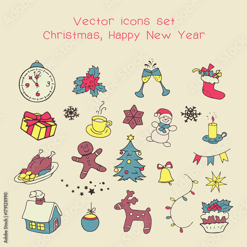 christmas holidays icon set classic hand drawn new year elements vintage style