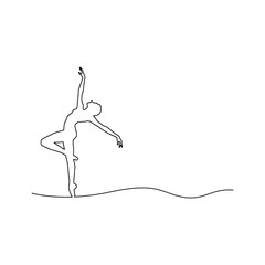 ballerina dancing vector illustration outline black line, isolated on white background