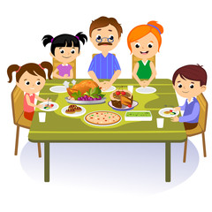 thanksgiving set, isolated happy family at the dinner table eat turkey drink wine. Mother father with childrens celebrate together traditional autumn holiday. People give thanks vector illustration
