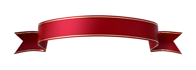 Red ribbon banner with gold border - arc up and wavy ends