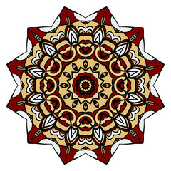 red, gold mandala round ornament design for greeting card, invitation. Vector illustration