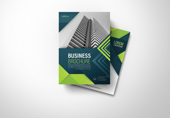Brochure Cover Layout with Blue and Green Accents 7