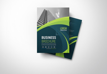 Brochure Cover Layout with Blue and Green Accents 8