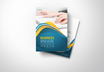 Brochure Cover Layout with Blue and Yellow Accents 5