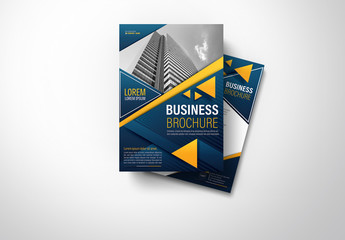 Brochure Cover Layout with Dark Blue and Orange Accents 4