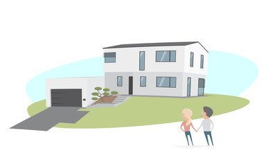 couple standing in front of a modern house