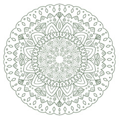 Unique mandala design. Round ornamental pattern for coloring book pages. Circle ornament for henna tattoo design.