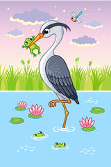 Vector illustration with a bird in cartoon style. Cute heron in a beak holds a frog.