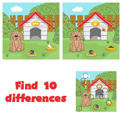 Find 10 differences game for children. Puppy near his house.