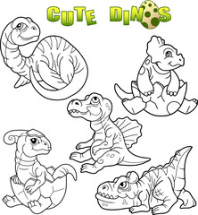 cartoon cute dinosaurs set of images