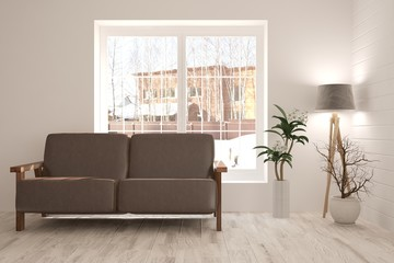 Inspiration of white minimalist room with sofa. Scandinavian interior design. 3D illustration