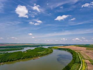 Danube River in Dobrogea, Romania aerial view from a drone