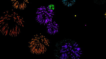 Abstract background with fireworks. Digital illustration. 3d rendering