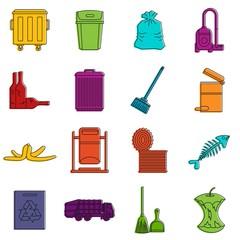 Garbage thing icons doodle set