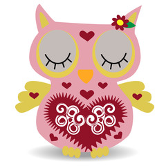 Nice pink smiling owl with a lilac flower on the ear and ornament on the heart and wings
