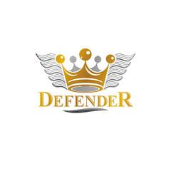 Ancient Crown emblem. Heraldic vector design element. Retro style label, heraldry logo. Ornate logotype isolated on white background.