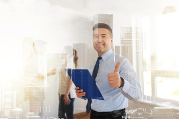 realtor with clipboard showing thumbs up