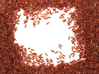 Red wild rice pile isolated on white background, frame and border