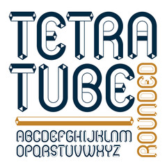 Vector upper case modern alphabet letters set. Artistic rounded font, typescript for use in logo creation. Made using tetrahedral tetra tube design.