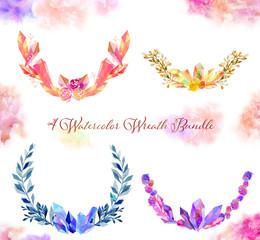 watercolor crystal wreath