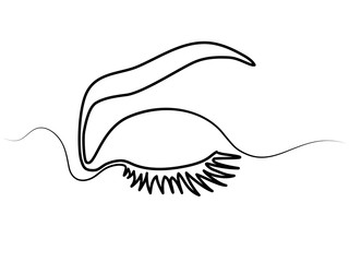 Continuous line drawing. Beautiful Woman s eye. Black and white isolated outline vector illustration. Concept for logo, card, banner, poster, flyer