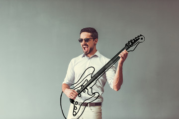 Man with rock guitar