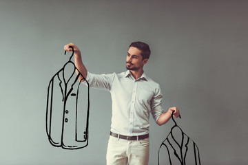Man choosing clothes