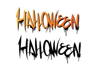 Orange Halloween texts graffiti style, vector