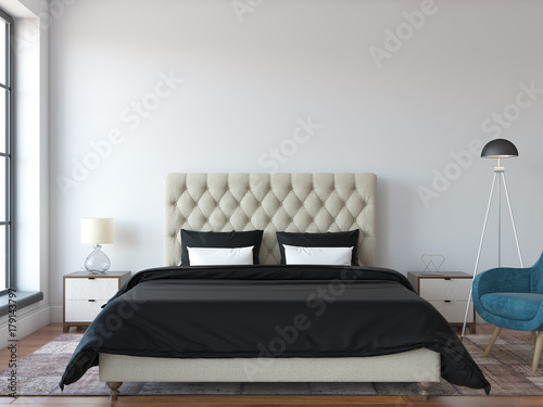 Mock Up Scene 3d Render Bedroom Interior Stock Photo And Royalty