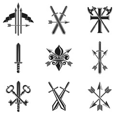 Vintage Weapon Emblems set. Heraldic signs vector vintage elements collection.