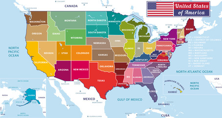 United States of America. Beautiful modern graphic USA map with oceans and lakes. 50 States. Alaska and Hawaï.
