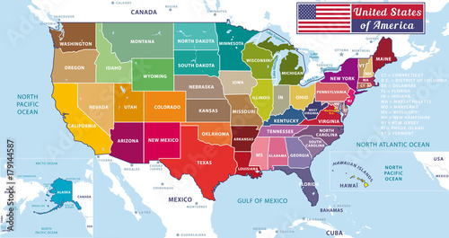 United States of America. Beautiful modern graphic USA map with ...