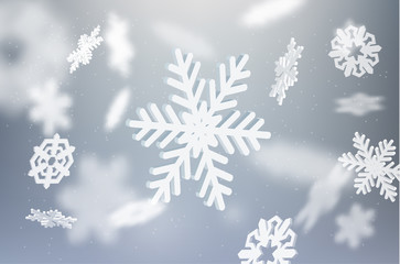 Falling snowflake vector background. EPS10