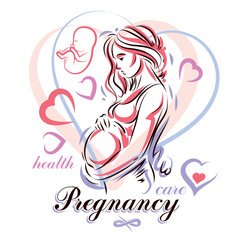 Pregnant woman elegant body silhouette, sketchy vector illustration. Reproduction clinic advertising