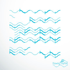 Flowing rhythm, abstract wave lines vector background for use in graphic and web design.