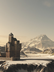 Medieval Tower House Castle in Winter Mountains - fantasy illustration